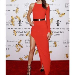 Halston Heritage High Low Asymmetrical Red Dress